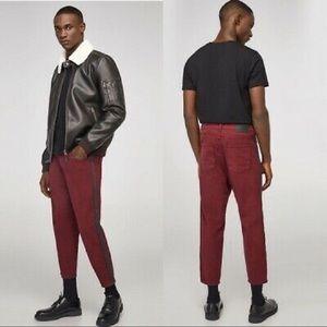 Zara Man Burgandy Loose Fit Jeans
